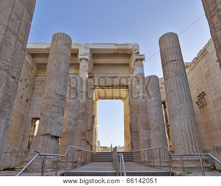 Propylaea the entrance of acropolis, Athens Greece