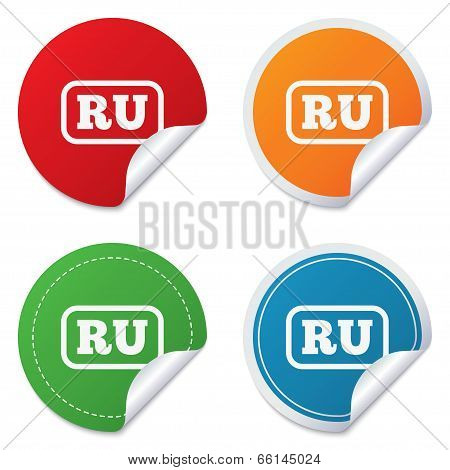 Russian language sign icon. RU Russia Portugal translation symbol with frame. Round stickers. Circle labels with shadows. Curved corner. Vector poster