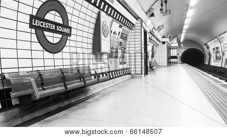 London Leicester Tube Station -black and white