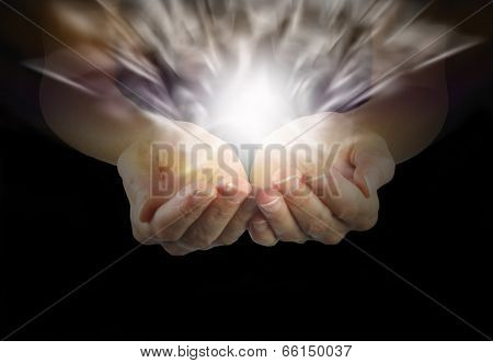 Woman with outstretched hands and explosive healing magnetism poster