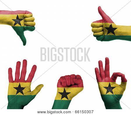 Hand Set With The Flag Of Ghana