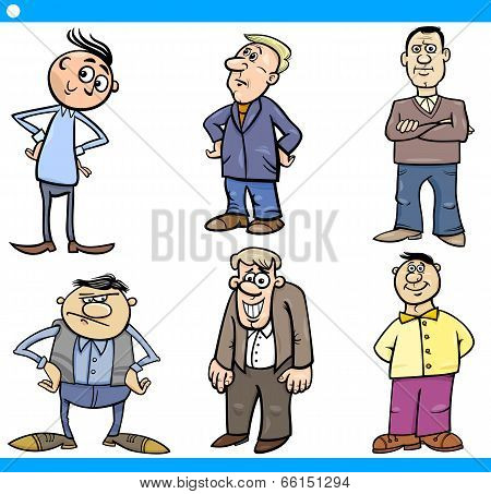 Men Characters Set Cartoon Illustration