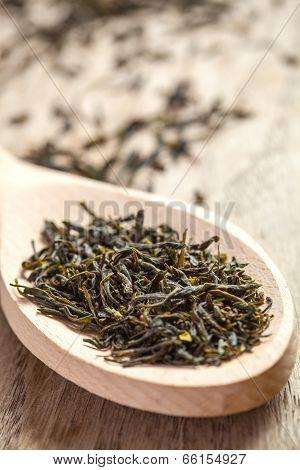 Spoon With Green Tea Herbs