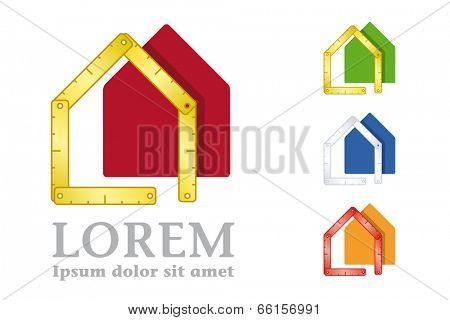 Yardstick and house symbol. Vector design elements.