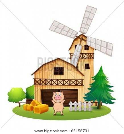 Illustration of a playful pig outside the wooden barn house with a windmill on a white background