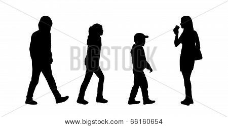 People Walking Outdoor Silhouettes Set 13