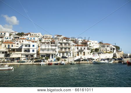 ANDROS, GREECE - APR 28, 2014: Marina of Andros, is the northernmost island of the Greek Cyclades archipelago in the Aegean Sea - area is 380 km2, 40 km long, and its greatest breadth is 16 km.