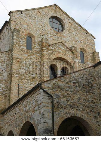 Facade Of The Historic Stone Church Of Aquileia