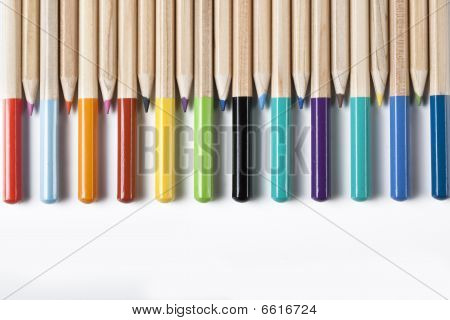 Colored Pencils Abstract background isolated on white poster