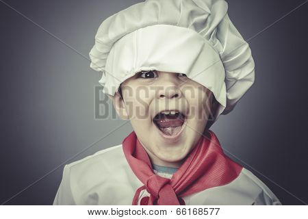 surprised child dress funny chef, cooking utensils