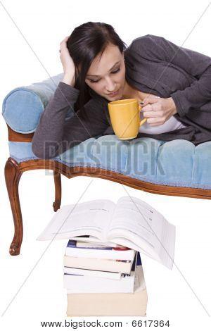 Stylish Cute Girl Reading A Book