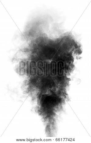 Black Steam Looking Like Smoke On White Background