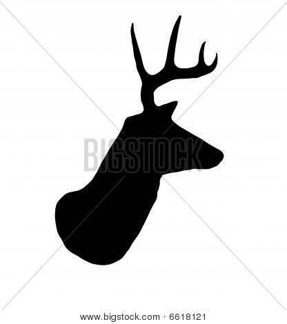 Whitetail Buck Deer Head Profile Silhouette