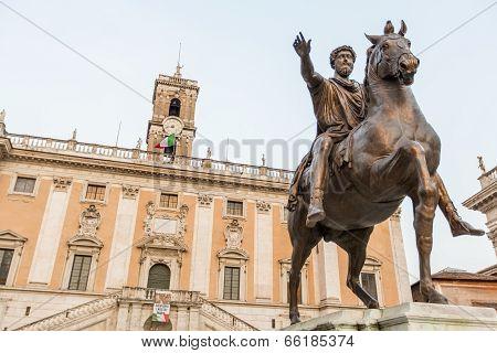 Marcus Aurelius Statue On Piazza Del Campidoglio In Rome
