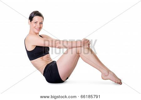 Healthy Young Woman Exercising, Isolated On White