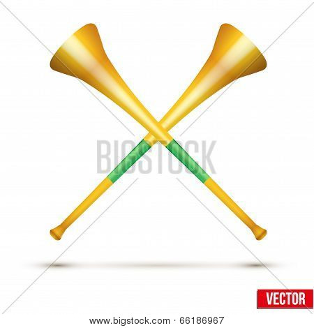 Fans' horn to support athletes at competitions. Golden pipe vuvuzela.Vector isolated on white background poster