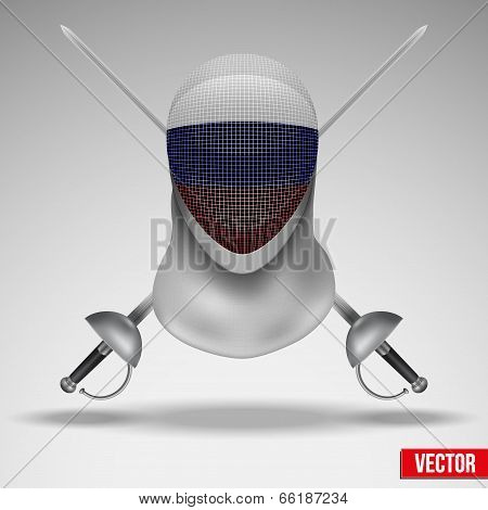 Fencer sword and mask with russia flag.