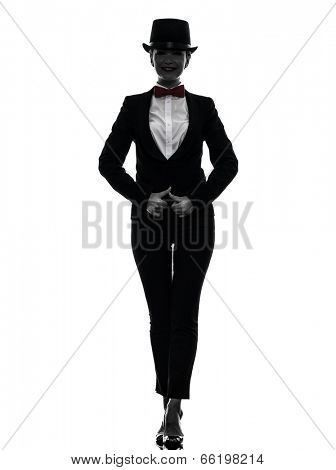 one  woman master of ceremonies presenter in silhouette on white background poster