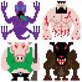 worse nightmare terrifying monsters retro computer pixel art poster