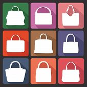 Set of Multi-coloured flat icons with white silhouettes of fashion women's handbag .Fashion illustration,vector poster