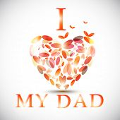 Greeting card design for Father's Day celebrations with text I Love My Dad made with colorful hearts on grey background.  poster