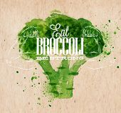 Poster with green watercolor broccoli lettering Eat broccoli be strong poster