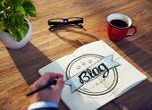 Businessman Brainstorming About Blogging poster