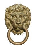Old medieval bronze door knocker in shape of lion head isolated on white background poster