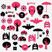 Set of various cute funny scrapbook elements poster