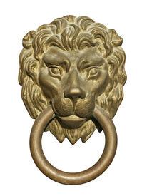 Medieval Door Knocker, Bronze Lion Head Cutout