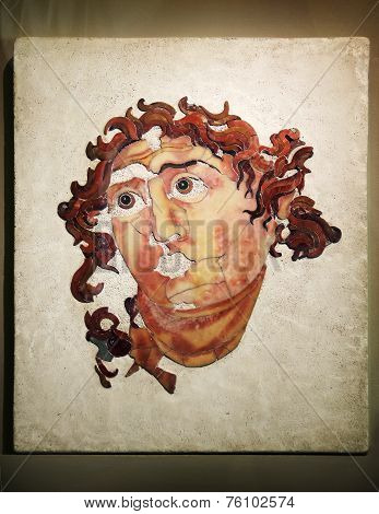 Rome - April, 22: Marble Head Of Helios In Opus Sectile, Museum In Colosseum, Rome, Italy