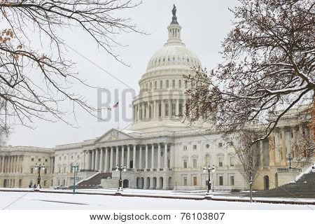 US Capitol Building in winter - Washington DC, United States of America