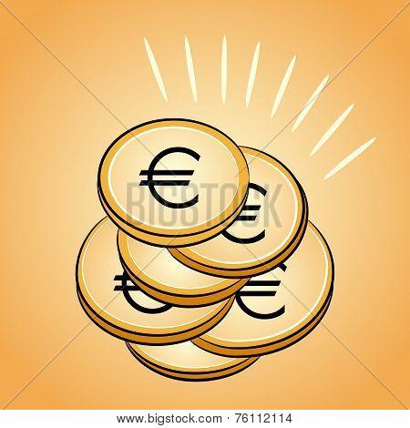 Pile Of Golden Coins Euro