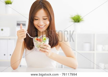 Beautiful Asian Young Woman Eating Healthy Food