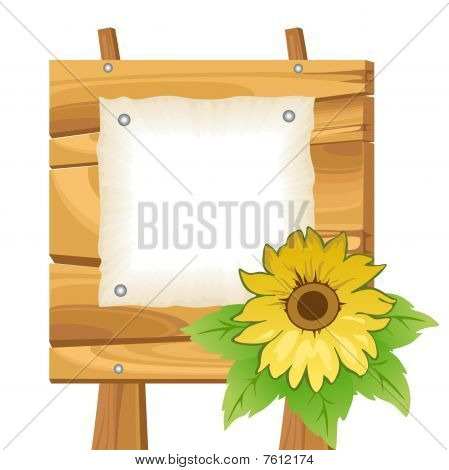 Wooden background with sunflower