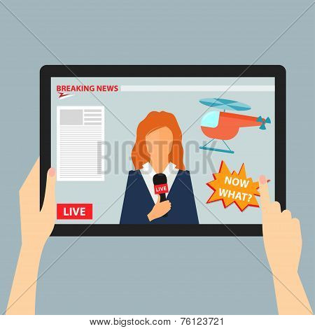 Vector illustration concept of hands holding modern digital tablet and pointing on a screen