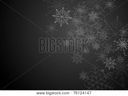Black and grey christmas background with snowflakes. Vector art
