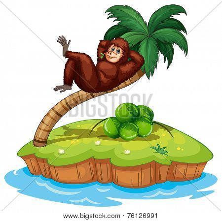 An island with a gorilla at the coconut tree on a white background
