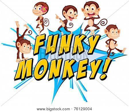 Funky monkey text with monkeys
