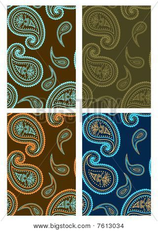 Set of vector seamless paisley backgrounds