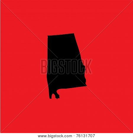 Coloured Background With The Shape Of The United States State Of Alabama