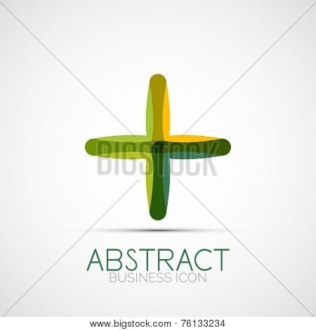 Line design logo, geometric abstract business identity icon, connected lines, symmetric loop logotype poster