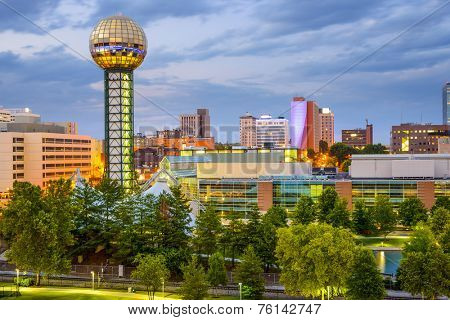 Knoxville, Tennessee, USA city skyline at World's fair Park. poster