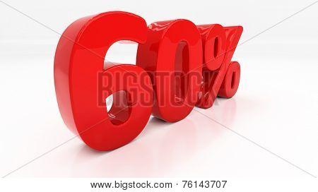 Sixty percent off. Discount 60.  Percentage. 3D illustration