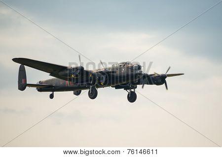 Vintage Lancaster Bomber. Battle Of Britain Flight.