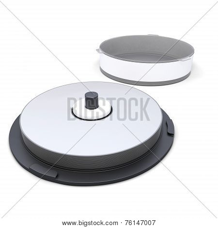 Cd Stack Case Plastic Spindle Open Isolated On White Background.