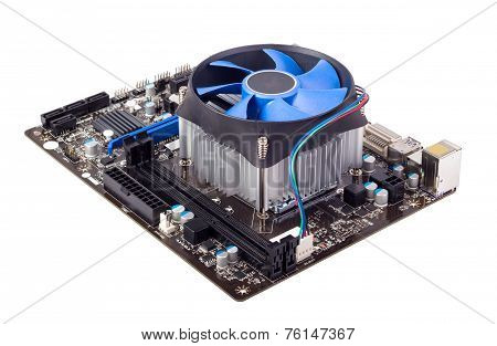 Computer motherboard isolated on white background with CPU cooler poster