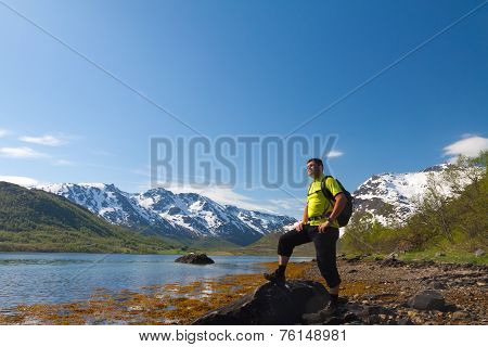 Sportsman Near Mountain Lake