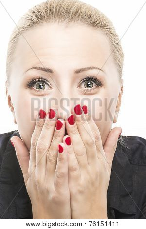 Excited Caucasian Woman Looking Forward With Joy And Fascination. Closeup Portrait.isolated On Pure