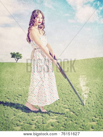 Vintage card style- beautiful young girl hunter . Creative concept photo and cg elements combinated